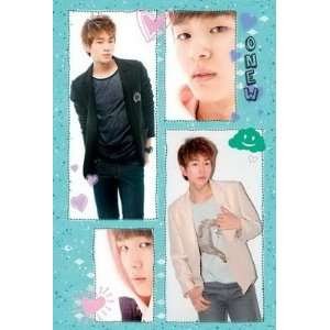 collage POSTER 23.5 x 34 green bkgrnd Taemin bandmate Korean boy band