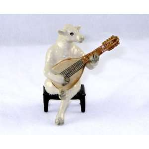 White SHEEP LAMB sits on a Bench plays LUTE MANDOLIN n BAND MINIATURE