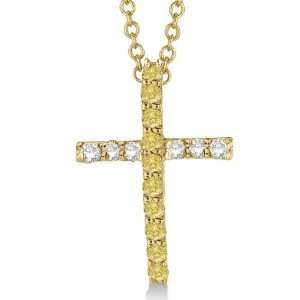 Yellow and White Diamond Cross Pendant Necklace 14k Yellow