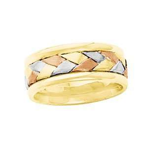 14K Yellow/White/Rose Gold SIZE 07.00 Tri Color Bridal Hand Woven Band