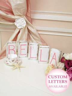 Shabby Cottage Chic Wooden Letter Blocks Baby BELLA wow