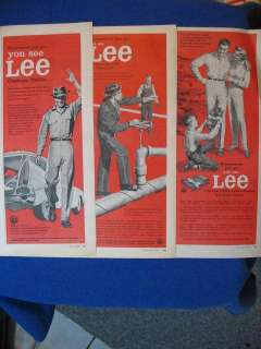 DIFF MENS CLOTHING SHIRTS PANTS LEE VINTAGE 1958 ADS
