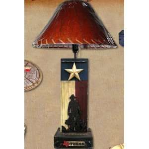 Western Decor Rustic Cowboy Cowgirl Texas State Flag Table Desk Lamp