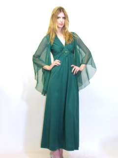 VTG 70S HUNTER GREEN SHEER ANGEL SLEEVES HIPPIE COCKTAIL MAXI DRESS
