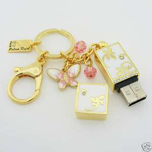USB 8GB Flash Memory Drive Key Chain DRAGONFLY Gold Swarovski Crystal