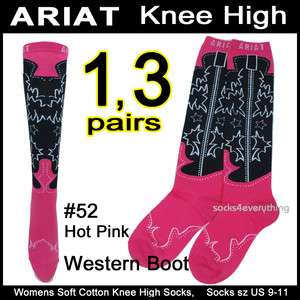 Womens Knee High Boot Socks WESTERN COWGIRL BOOTS 9 11 Black Pink 1,3p