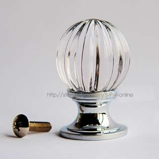 Top Quality Pumpkin Clear Crystal Glass Drawer Cabinet Knob(Copper
