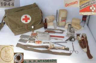 WWII ORIG. GERMAN ARMY MEDIC FIRST AID BAG w/EQUIPMENT