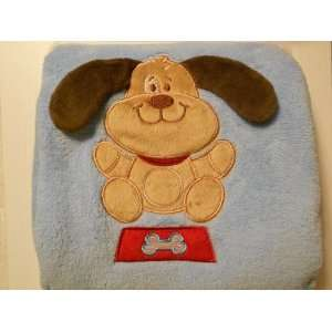 Blue Brown Puppy Dog Baby Boy Blanket Baby