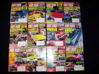 Hot Rod Magazine 12 issues 11 from Jan Dec 1995 & 1 from 1993 car