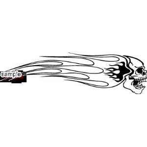 WITH FLAME TRAIL SKULL WHITE VINYL DECAL STICKER