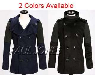 Fashion Mens Slim Double Breasted Winter Warmer Trench Overcoat Jacket