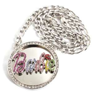 Silver with Multi Iced Out Nicki Minaj Barbie Pendant with