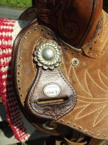 Used Circle Y Spot Tooled & Suede Leather Barrel Racing Saddle