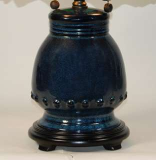 22 High Dale Tiffany Mura Blue Pottery Table Lamp