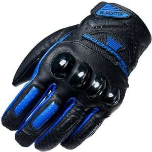 Scorpion Black Top Mens Leather Road Race Motorcycle Gloves   Blue