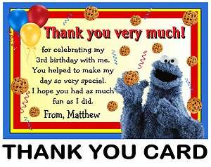 SESAME STREET COOKIE MONSTER BIRTHDAY THANK YOU CARDS