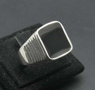 STERLING SILVER CLASSIC RING SOLID 925 BLACK ENAMEL MEN NEW SIZE 7