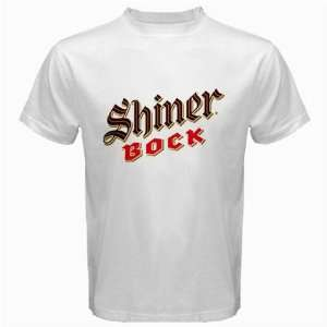 SHINER BOCK BEER Logo New White T Shirt Size  L