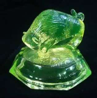 Yellow Vaseline Glass Buffalo Bison Figural Paperweight