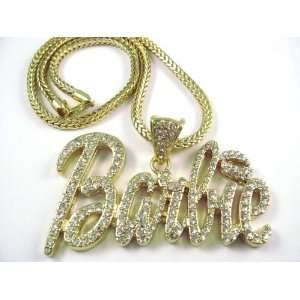 NEW NICKI MINAJ BARBIE Pendant w/Franco Chain Gold LG, Clear