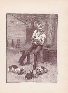 PIT BULL TERRIER DOG BOY & LOP EARED RABBITS PRINT 1893