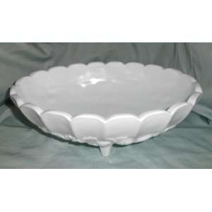 Vintage Indiana Glass Milk Glass  Garland  Footed Fruit Bowl   12 x