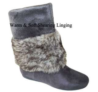 Warm, Soft, Comfy & Stylish Cuff Faux Fur Suede Knee High Flat Boots