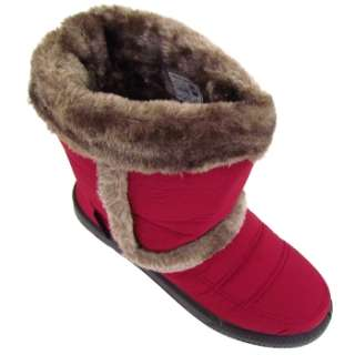 WOMENS BURGUNDY RED WINTER ICE SNOW WARM RAIN FAUX FUR LINED BOOTS