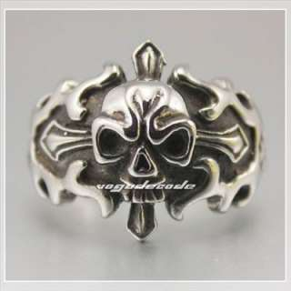 Cool Skull 316L Stainless Steel Mens Ring 4X017 size 10