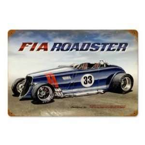 FIA Roadster Vintage Metal Sign Hot Rod Classic