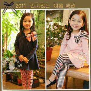 Cute Kids Girls Stripe Bowknot Long Sleeve T shirt & pants Suit