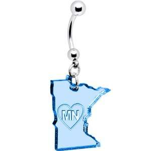 Light Blue State of Minnesota Belly Ring Jewelry
