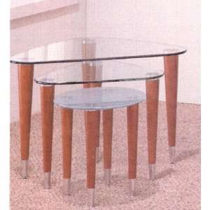 Designer Retro Modern Glass Top Nesting Tables with Wood