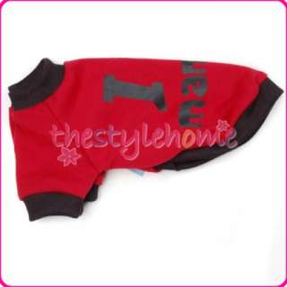 New Red Pet Dog T Shirt Coat Jacket Clothes Apparel S