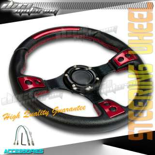 BLACK/RED+STITCH PVC LEATHER 320MM RACING STEERING WHEEL RACE/DRIFT