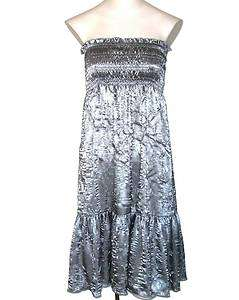 New Rampage Pewter Silver Smocked Bustline Sleeveless Tiered Dress