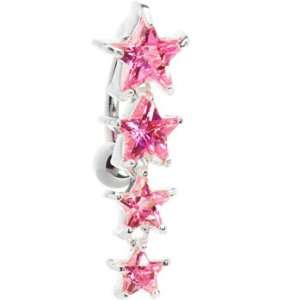 Top Mount Sterling Silver 925 Pink Cubic Zirconia Star