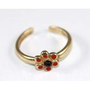 14k Yellow Gold red flower Toe Ring Jewelry