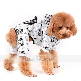 Pet Dog Puppy mickey Lattice Pocket Hoody Jumpsuit Jacket Warm Winter