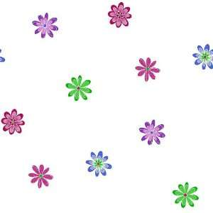 Contemporary Floral Hot Pink, Purple and Green on White Wallpaper in