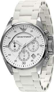 Emporio Armani White Silicone & Stainless Steel Womens Watch AR5867