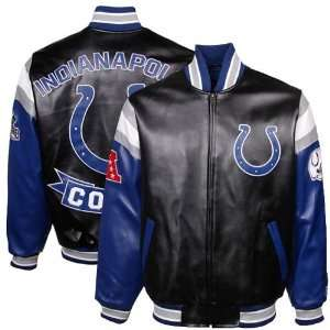 Indianapolis Colts Black Pleather Varsity Full Zip Jacket