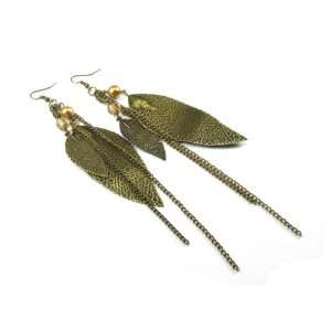 Antique Gold Tone Dual Leaf Dangle Earrings with Drop Chains and Bead