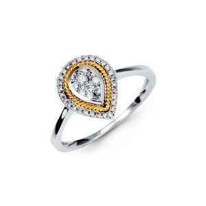 18K Yellow Solid White Gold Teardrop Round Diamond Ring Jewelry