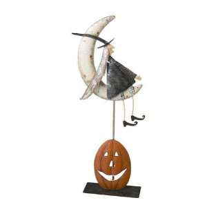 Large Metal Folk Art Witch Sitting on the Moon Kitchen