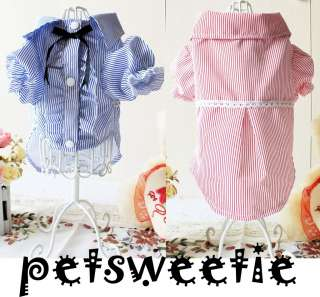 COLORS Stripe Party Wedding Pet clothes Cat Dog Clothes T shirts XS