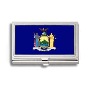 New York State Flag Business Card Holder Metal Case