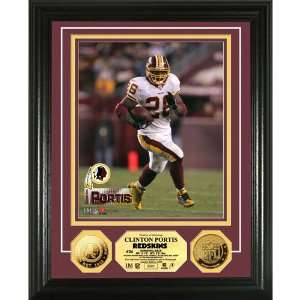 Clinton Portis 24Kt Gold Coin Photo Mint Sports