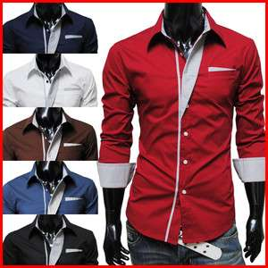 N320) TheLees Mens Casual Long Sleeve Stripe Patched Fitted Dress